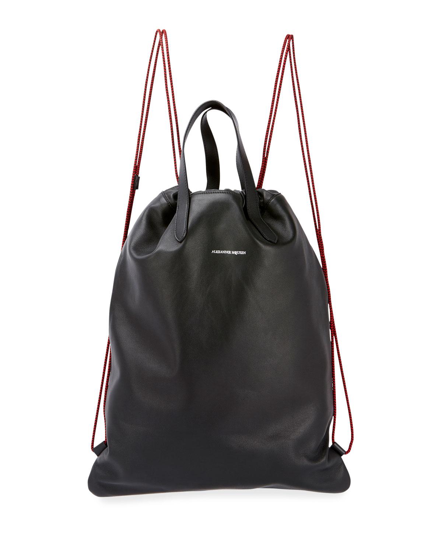 Men S Leather Drawstring Sling Backpack