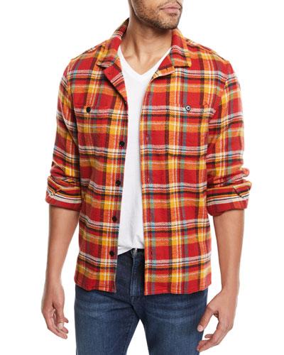 Men's Button-Front Plaid Flannel Shirt Jacket