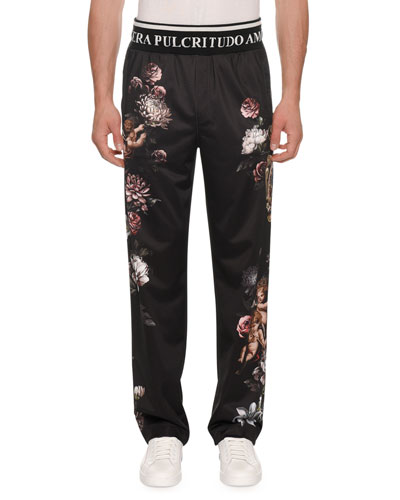Men's Floral Cherub Satin Jogger Pants