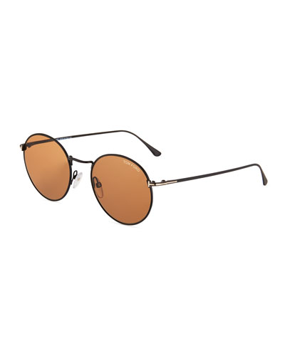Men's Ryan Round Metal Sunglasses, Brown Pattern