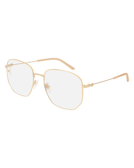 Men'S Squared Optical Glasses in Gold/ Clear