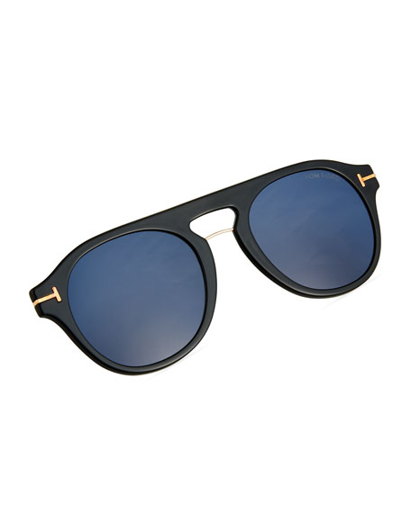 325b3917e3e53 TOM FORD Men s Round Optical Glasses w  Magnetic Clip On Blue-Block ...