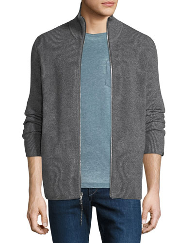 Men's Andrew Rib-Knit Zip-Front Sweater