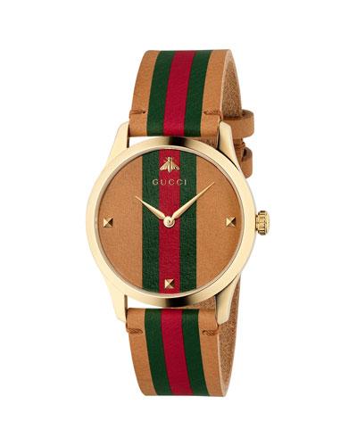 Men's Tricolor Leather Web Watch