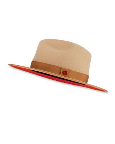 Queen Red-Brim Wool Fedora Hat  Beige