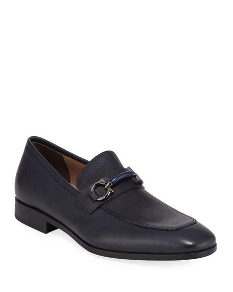 Salvatore Ferragamo Men's Benford Gancini-Bit Leather Loafer