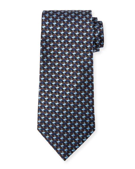 Micro-Check Silk Tie, Light Blue/Brown