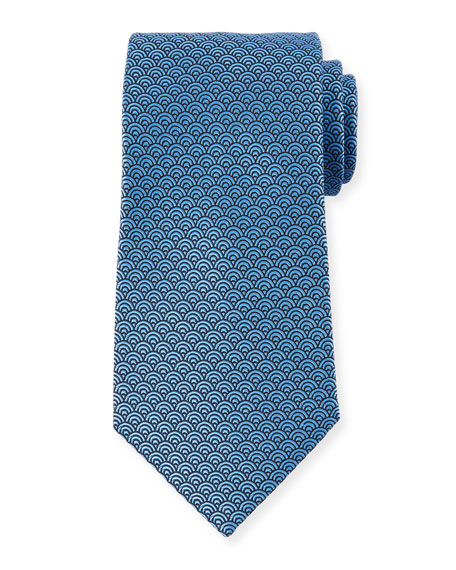 Image 1 of 1: Men's Silk Woven Tiles Tie, Blue