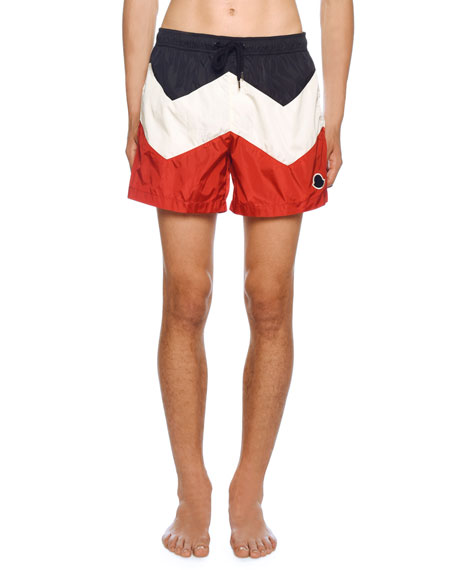 Moncler Men's Tricolor Swim Trunks