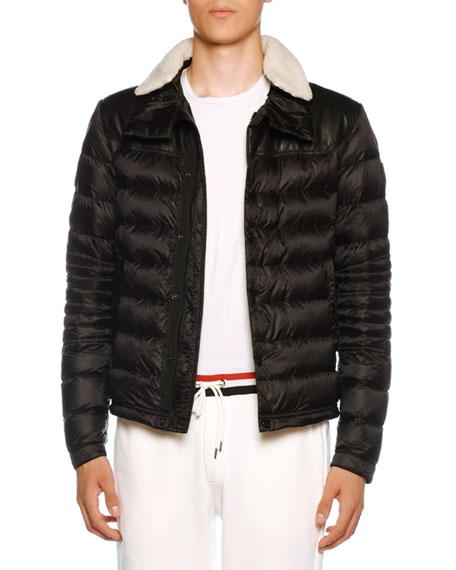 Moncler Men's Vasserot Fur-Trim Puffer Jacket