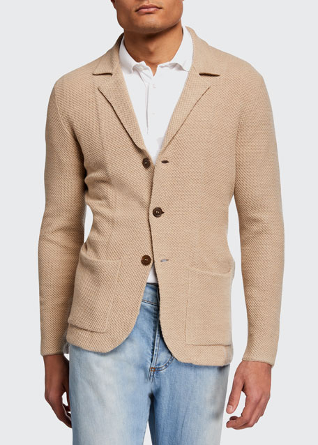 Image 1 of 1: Men's Merino Wool Cardigan Blazer