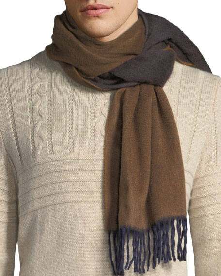 Image 1 of 1: Men's Two-Tone Cashmere Scarf, Brown