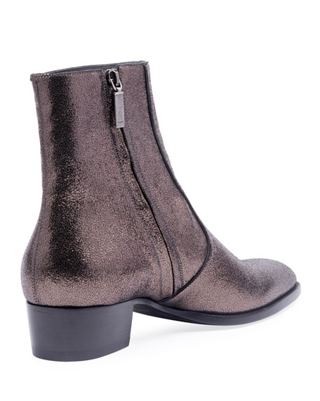 c4eaecc5 Men's Wyatt 40mm Metallic Leather Ankle Boots Black