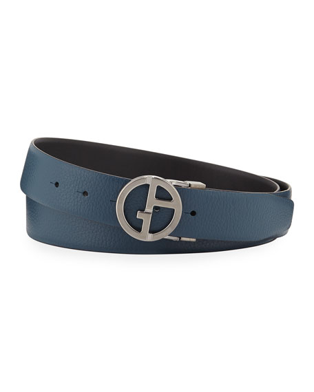 Image 1 of 1: Men's Reversible Logo-Buckle Vitello Belt, Steel Blue