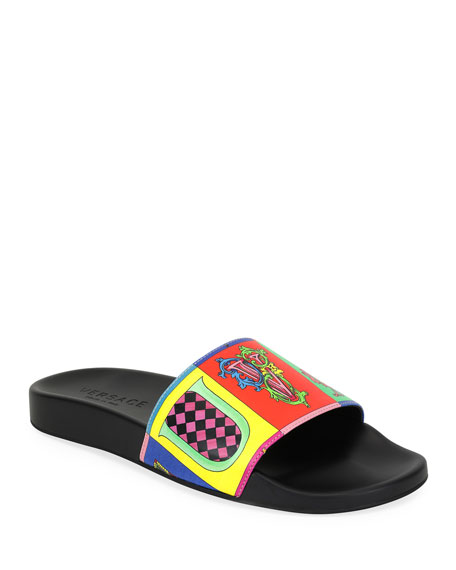 Men's Graphic-Print Wildcolor Lettering Slide Sandal