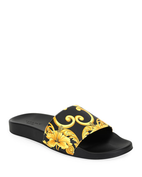 Versace Men's Graphic-Print Tribute Slide Sandal