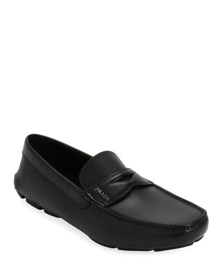 Prada Men's Saffiano Leather Driver Shoes
