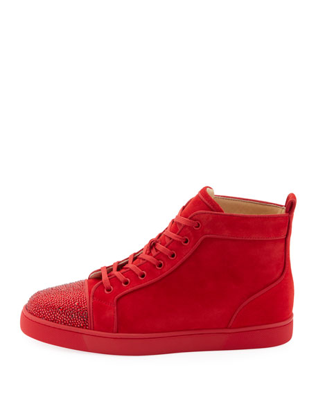 Men's Louis Suede High-Top Sneakers with Crystal Embellishments
