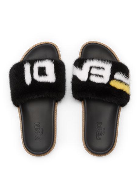 Men's Fendi Mania Logo-Print Mink Fur Slide Sandals