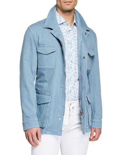 Men's Light Wash Denim Safari Jacket