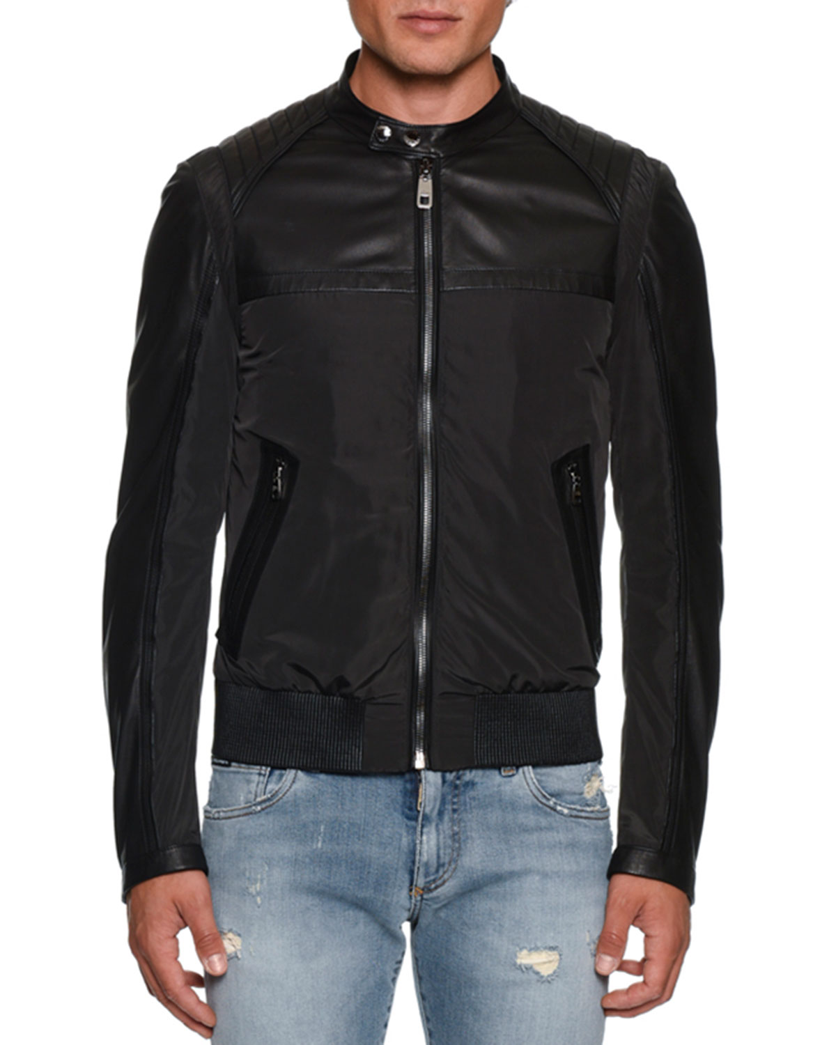Sales promotion famous brand search for genuine Men's Nylon/Leather Bomber Jacket