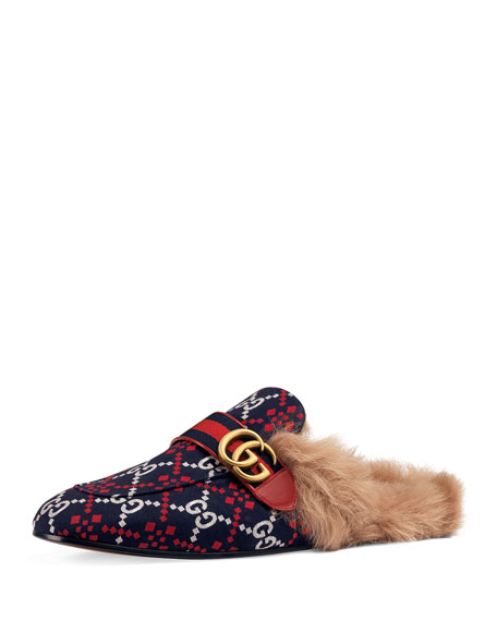 Gucci Men's Princetown Diamond Jacquard Slippers with Double