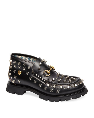 Men's Studded Leather Ankle Boots