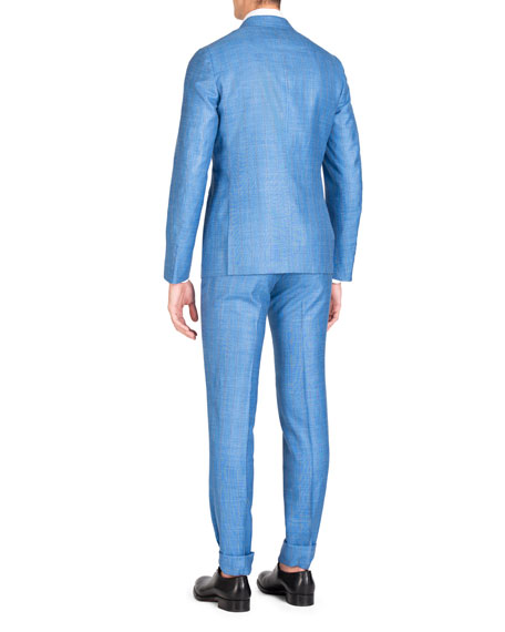 Men's Stripe Wool/Silk/Linen Two-Piece Suit