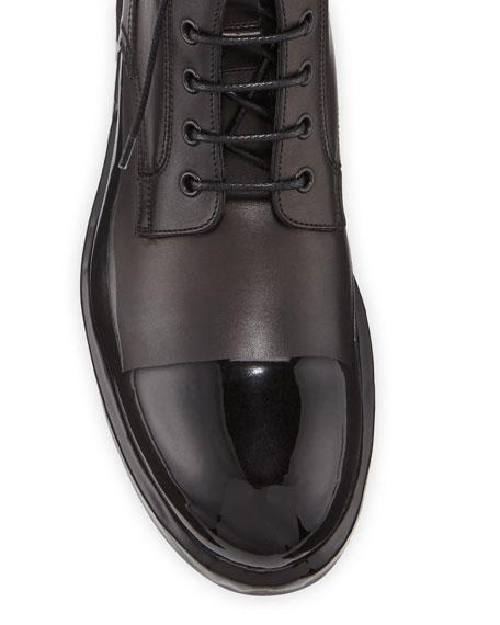 Men's Cap-Toe Leather Combat Boots