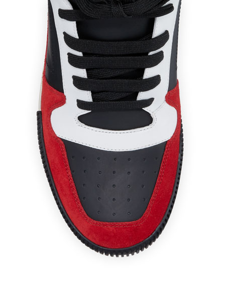 Men's High-Top Colorblock Leather Sneakers