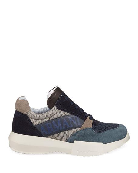Men's Logo-Embossed Suede-Trim Trainer Sneakers