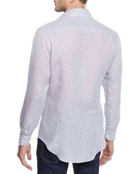 Men's Micro-Houndstooth Linen Sport Shirt, Light Gray