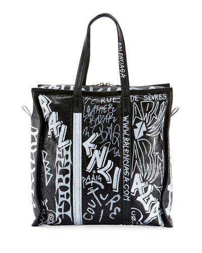 Men's Bazar Medium Graffiti Leather Shopper Tote Bag