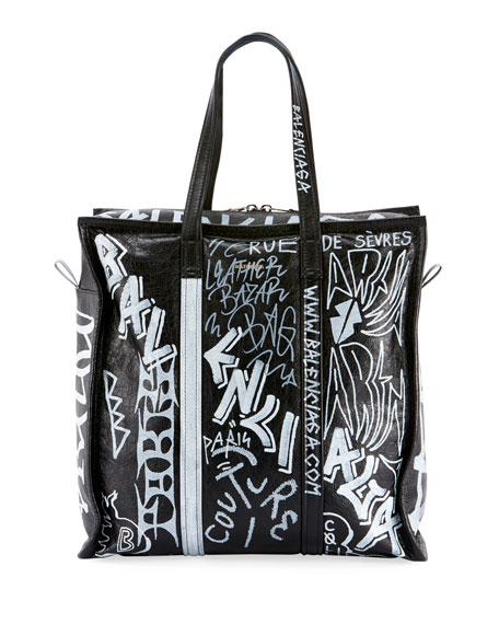 Balenciaga Men's Bazar Medium Graffiti Leather Shopper Tote