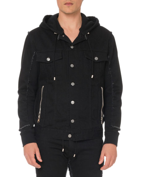 Image 1 of 1: Men's Hooded Denim and Jersey Jacket