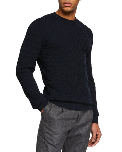 Men's Crocodile-Pattern Crewneck Sweater