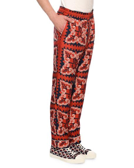 Men's Logo Bandana-Print Silk Pants