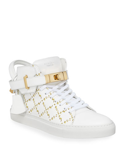 Men's Monogramed Leather Mid-Top Sneakers