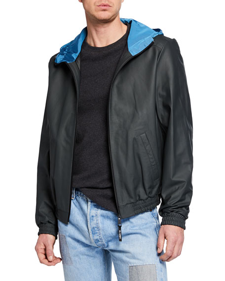 Image 1 of 1: Men's Hooded Lamb Leather Zip-Front Jacket