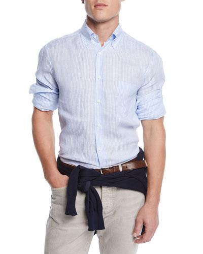 Men's Washed Stripe Sport Shirt