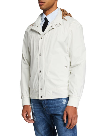 Brunello Cucinelli Men's Nylon Coat with Packaway Hood