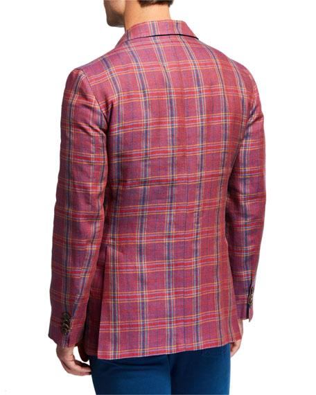 Men's Plaid Linen/Wool Sport Jacket