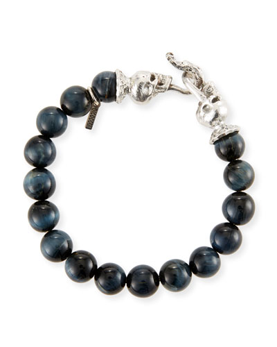 Men's Blue Tiger Eye Sterling Silver Bracelet