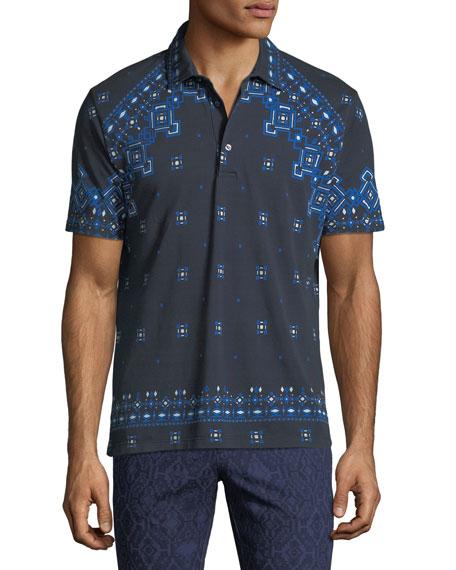 Men's Bandana Pattern Polo Shirt