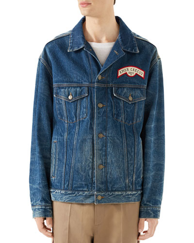 Men's Logo-Patched Jean Jacket
