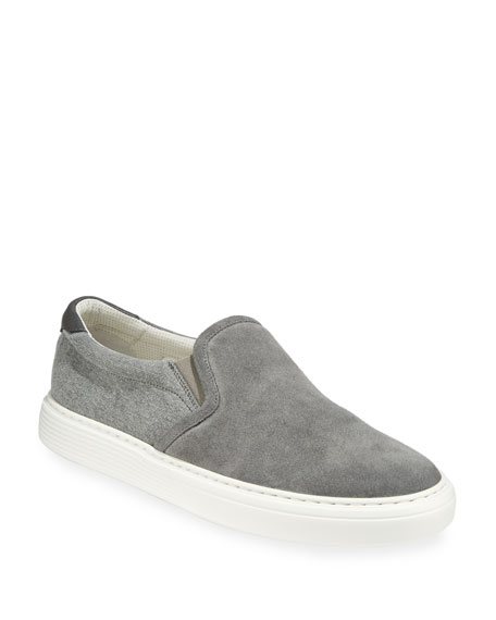 Brunello Cucinelli Men's Suede and Canvas Slip-On Sneakers
