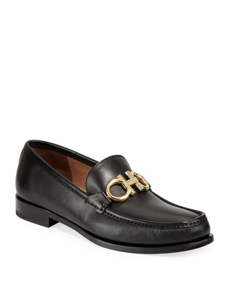 Salvatore Ferragamo Men's Leather Twisting Gancini Loafers