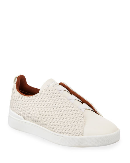 Ermenegildo Zegna Men's Triple-Stitch Pelle Tessuta Low-Top