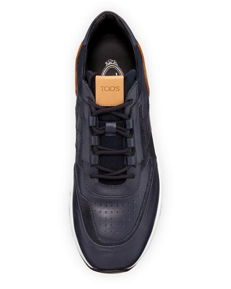 Men's 56-B Mesh & Leather Trainer Sneakers, Navy