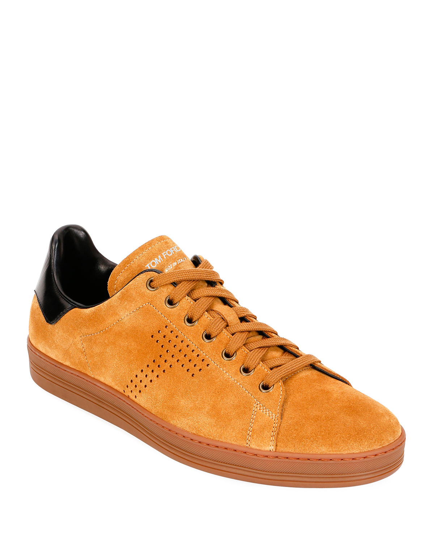 Tom Ford Tops Men's Low-Top Suede Sneakers